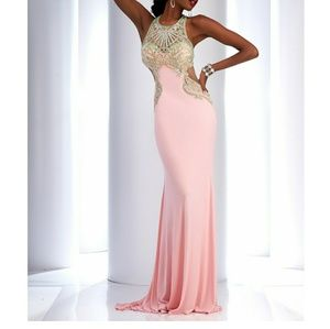 Clarisse Couture size 00, Pink & Mint Jeweled Gown